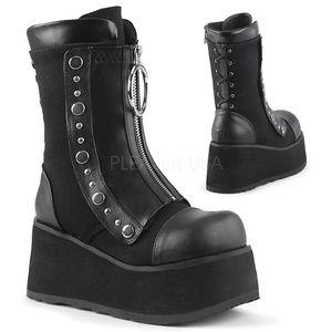 Shoes - Gothic Platform Lace Up Mid-Calf Boots Punk Shoes
